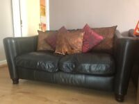 DFS Four piece black leather sofa