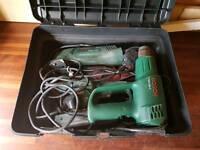 Bosh sander, detail sander and heat gun set with accessories
