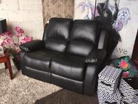 Recliner Sofa 2 Seater Faux Leather Manual Recliner Sofa In Black