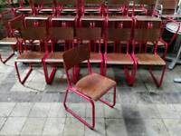 50 Italian wood and Red tube frame school chairs