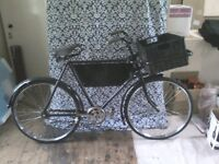 FULLY RESTORED ANTIQUE VINTAGE BUTCHER'S MESSENGER BIKE- ABLE TO BE RIDDEN- GREAT ADVERTISING -£295