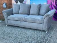 New Dury Fabric 3 Seater Scatter Back Cushions Sofa In Dark Grey