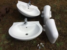 Two Semi Wall Mounted Bathroom Basins with Taps