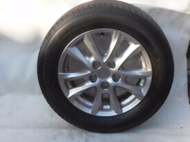2 Wheels and Tyres for Mazda 3. 1 full Alloy with 70mm. tread. 1 Skinny Temporary unused