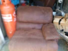 Reclineing large chair brown sude very good condition