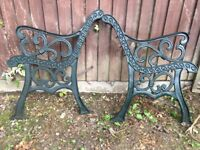 Two pairs of cast bench ends