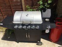 6 Burner Gas BBQ Grill with Side Burner + Cover + Gas Bottle + Gas Hose and Regulator