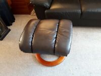 2 seater brown leather sofa and foot stool