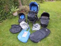 Babystyle Oyster travel system with car seat, carry cot, adjustable seat, colour pack & raincovers