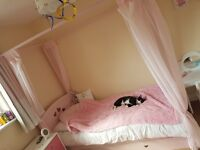 Pink Four Poster Mia Single Bed