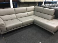 NEW/EX DISPLAY GREY LEATHER LazyBoy PALUCCI CORNER ELECTRIC RECLINER SOFA 70% Off RRP