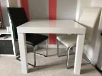 High Gloss White Square Table & Chairs