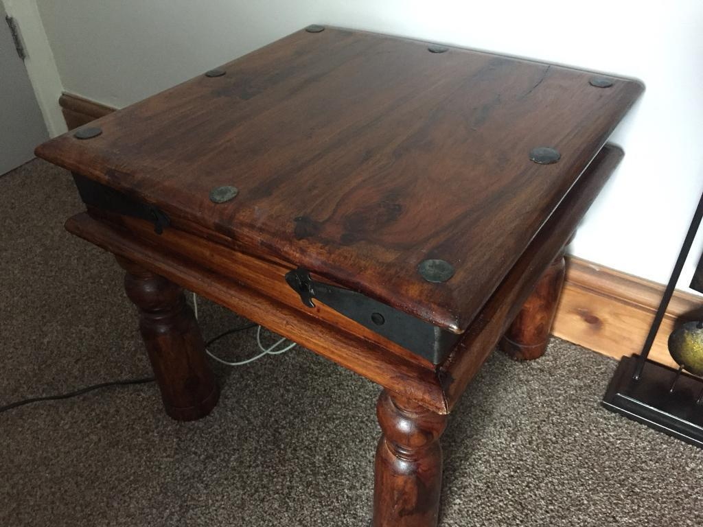 Solid Redwood Indian side table