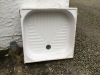 Ceramic Square used shower tray. Perfect for outdoor shower or dog wash