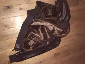 Leather fur lined men's jacket