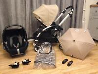Bugaboo bee+ Travel System pram black and sand maxi cosi car seat