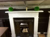 Period Arts & Crafts Marble Fireplace Surround.