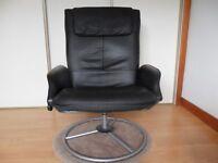 IKEA, black leather swivel chair.