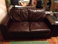 2x Brown Leather Sofas (Identical)