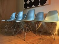 Authentic Vitra Eames DSR 43cm Side Chairs in Ocean Blue