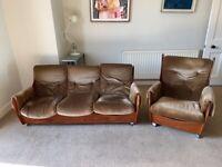 G Plan Saddle Back Three Seater Sofa and Armchair