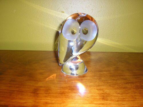 Steuben Owl crystal glass Mid Century Modern Donald Polland figurine art vintage