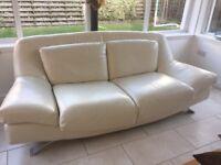 Cream leather sofa from Reid's furniture