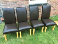 4 leather chairs and dining table