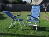 Folding reclining camp chairs