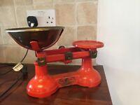 Vintage Retro Kitchen Scales Cast Iron Volcanic Orange