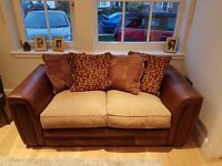 Leather two seater sofa brown beige