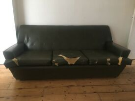 Vintage Green Sofa and Arm Chair with Wooden Trim
