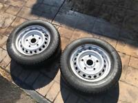2 x Transit custom steel wheels and tyres 215 65 15