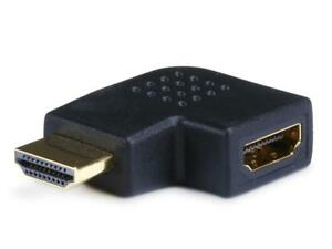 HDMI 90 Degree Right Angle Port Saver Adapter (Male to Female), Vertical Flat Left - Black