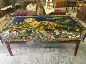 Vintage 1970s Velvet throw two lions.