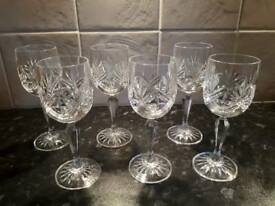 Six Vintage Edinburgh Crystal sherry glasses