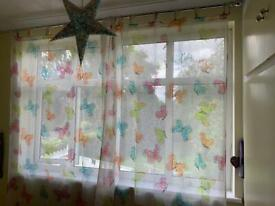 Curtains voile sheer tab tops colourful