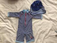 John Lewis Boys Swimsuit and Hat 12-18 Months