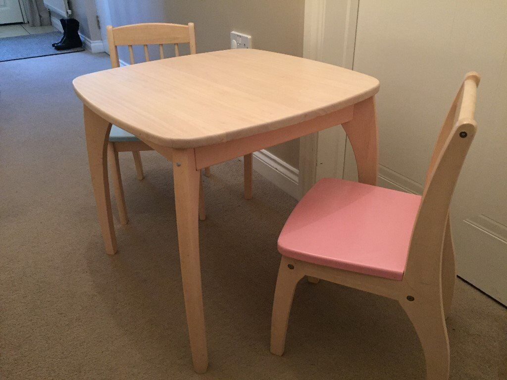 Childs Wooden Table and 2 Chairs