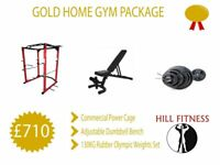 Gold Home Gym Package - Power Cage Adjustable Bench Olympic Weights and Barbell
