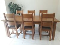 Rustic Solid Oak Extending Dining Table and Six Chairs (seats 6-10)