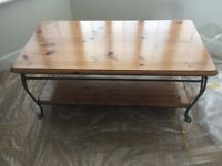 Ducal wrought iron and pine coffee table
