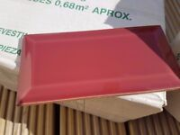 Red ceramic wall tiles