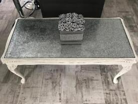 Shabby chic glitter/glass topped coffee table