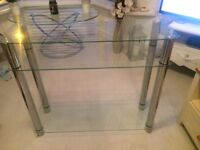 Glass and metal console table/tv stand