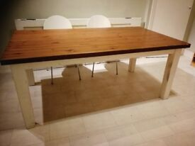 Solid wood shabby chic kitchen / dining table