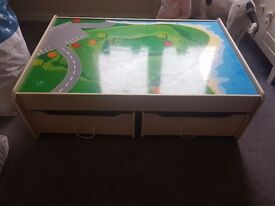 Kids play table. Very tiny bit of damage to table top but doesnt effect the table!