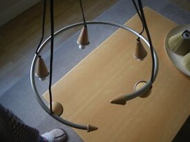 MODERN CONTEMPORARY PIGAZZI PENDANT LIGHT FITMENT. NEVER USED. 5 LIGHT FITMENT.