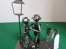 Flame Homeware Metal Bottle and Candle Holder - Dancing Couple