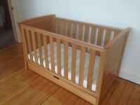 Aspace Bloomsbury oak cot bed with matching underbed drawer (& extras)